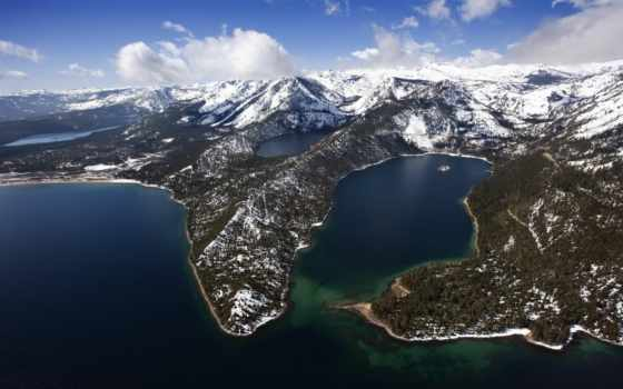 озеро, emerald, bay, tahoe, california,