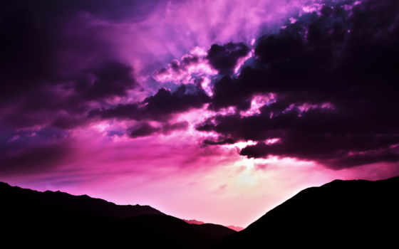 purple, закат, пост, фиолетовым, природа, город,