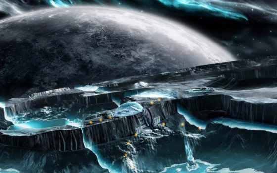 planet, desktop, лед, icy, межзвездный, widescreen,