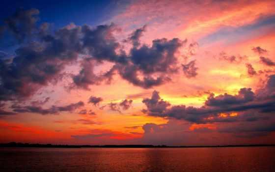 коллекция, небо, облако, red, sun, community, море, красивый, закат
