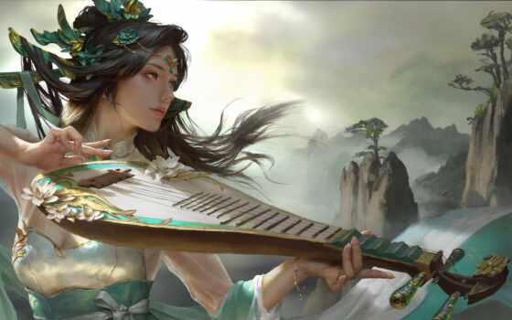 art, fantasy, китаянка, характер, relax, m-sico, музыка, anime, идея, artwork, chino