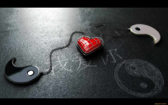yang, yin, heart, with, red, ipad, love, янь, google, chained,