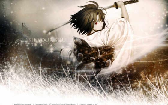 самурай, девушка, anime