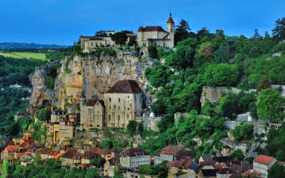 франция, rocamadour, дома, города, houses, реки, cities, roque, gageac,