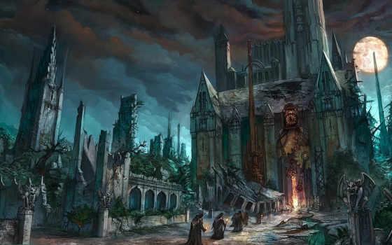 fantasy, храм, gothic