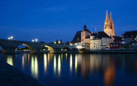 регенсбург, brücke, steinerne, cathedral, бавария, городов, ecke, германии, синара, регенсбургский,