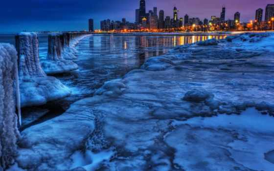 море, landscape, картинка, лед, дома, water, берег, зимние, город,