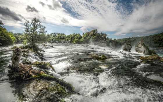 река, природа, поток, water, landscape, небо, бурная, бурлящая, последний, дек, скалы,