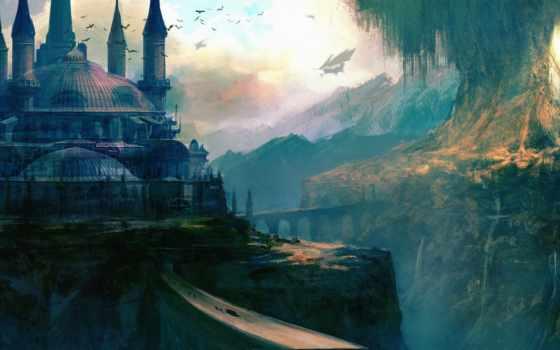 fantasy, art, castle Фон № 136919 разрешение 3640x1893