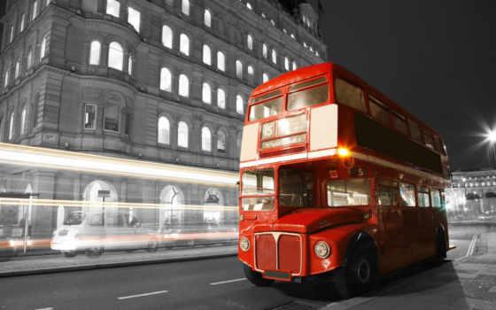 город, ночь, улица, дорога, картинка, чёрно, bus, великобритания, london, white,