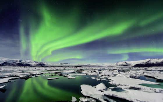 огни, iceland, northern, сияние, северное, льдины, льды, lagoon,