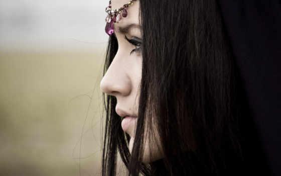 profile, девушка, волосы, губы, art, рисунок, взгляд, devushki, родинка, задумчивость, индеец,