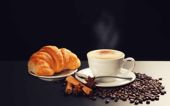 чашка, ложечка, блюдца, корица, бадьян, круассан, зерна, пена, кофе, горячий,