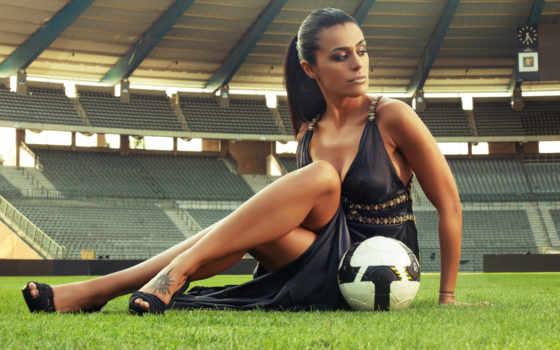 футбол, стадион, девушка, мячом, секси, просмотреть,