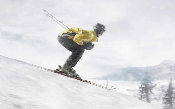 лыжник, спортсмен, слаломист, спорта, зимний, полозьях, лыжника,