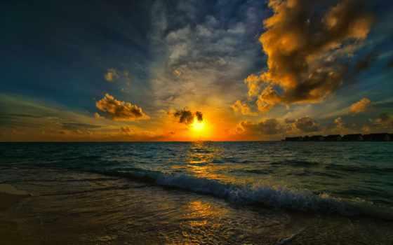 море, пейзажи -, waves, sun, закат, bay, landscape, пляж, water, прекрасные, скажет,