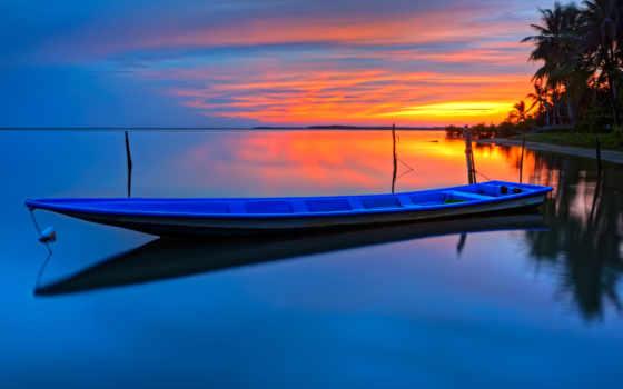 barco, сол, fondo, fondos, pantalla, oceano, palmeras, palmeiras, parede,