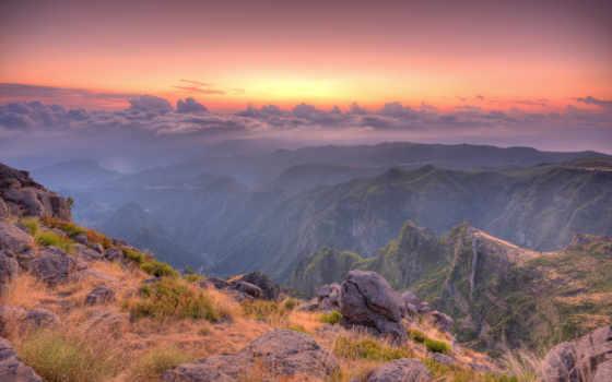 break, горы, туман, камни, трава, утро,