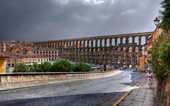 испания, segovia, акведук, дорога, улица, roman, здания, увеличить, город, дома,
