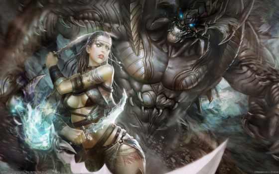девушка, art, huang, dahong, магия, мечи, monster,