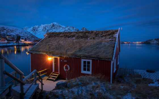 lofoten, норвегия, norwegian, гора, reine, остров, красивый, lofotenskii, house, mac, сияние
