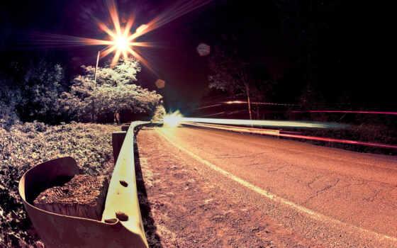 ночь, дорогой, свет, дорога, яркий, lodge, лес, polyanin, природа