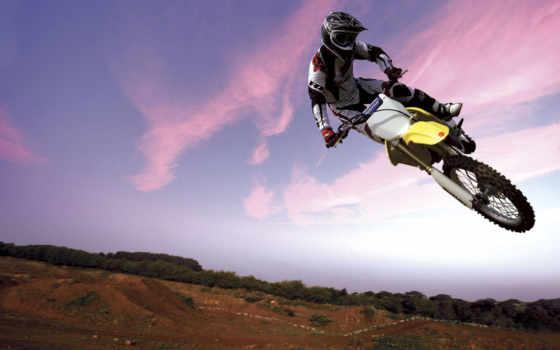 спортивные, прыжок, мотоцикле