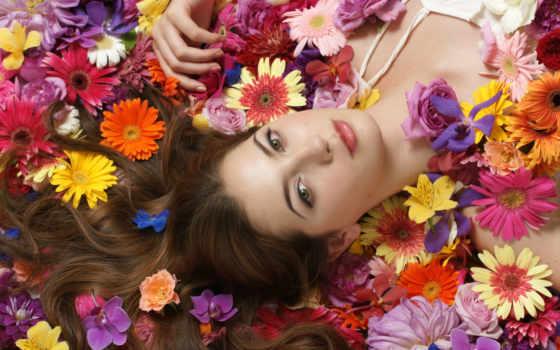девушка, devushki, цветов, among, цветах, цветы, лицо,