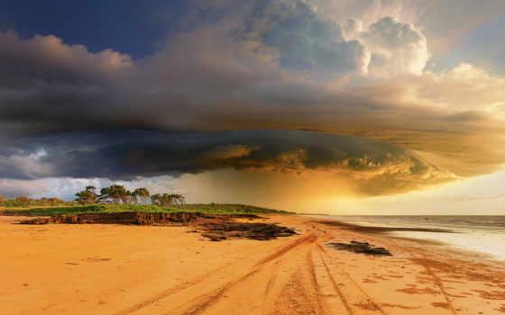 природа, австралия, буря, пляж, тучи, циклон, небо, tropical, ocean, австралии,