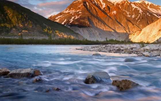 река, горная, горы, камни, дек, фотообои,