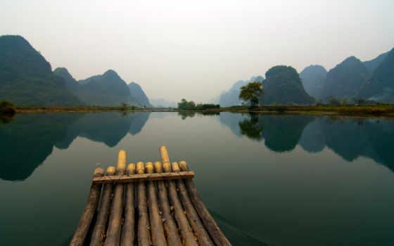 китаянка, лодка, озеро, фотообои, лес,