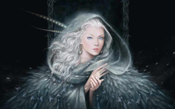волосы, art, белые, девушка, взгляд, перья, серьги, руки, снег, украшения,