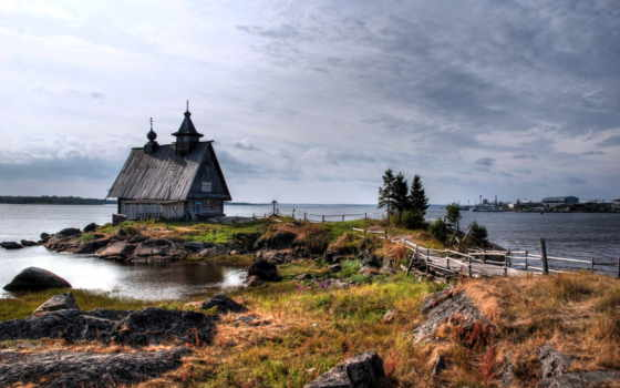 church, небольшая, берегу, озера, море, большого, barn, коттедж, мебель, моря,