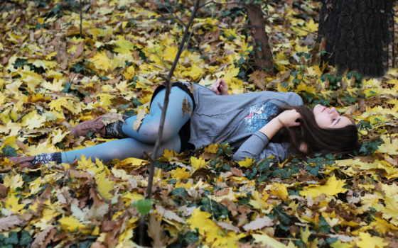 осень, девушка, лес, осенние, листва, заставки, картинка,