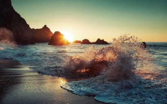 waves, sun, море, закат, природа, пляж, горы, рассвет, ocean, брызги, скалы,