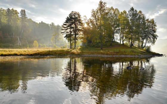 природа, озеро, утро