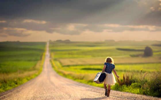 дорога, путь, раздолье, девушка, чемодан,
