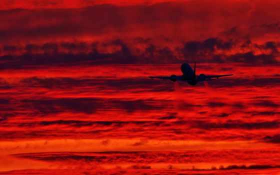 самолёт, небо, закат, закате, техника, takeoff, взлетает,