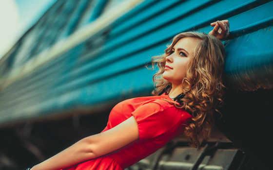 девушка, русая, позирует, макро, devushki, взгляд, композиция, природа, adult, жд, wagon,
