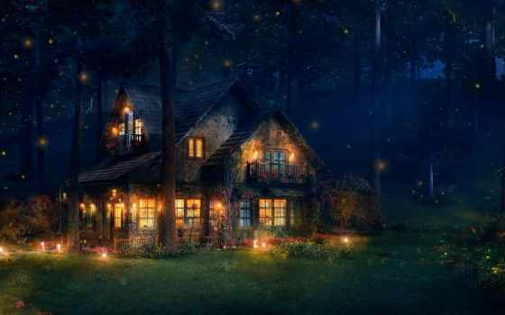 лес, art, house, коттедж, светлячки, firefly, дома, светящимися, яркий, лесу,