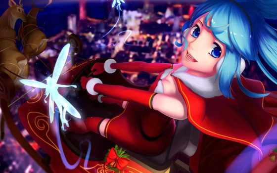 anime, devushki, anizor, christmas, new, vocaloid, год, вокалоид, amino, fei, праздники,