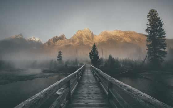 туман, мост, природа, горы, коллекции, card,