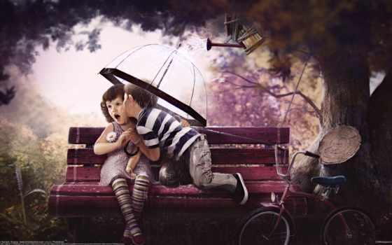 rtem borisov, sweet age, дети, скамейка, велосипед, дерево, любовь обои