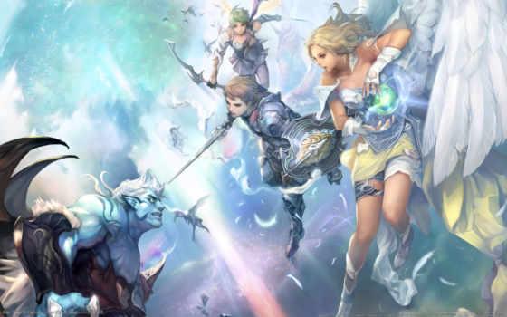 devushki, angel, aion, крылья, оружие, перья, anime, битва, девушка, башня, магия,