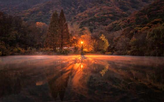 осень, house, закат, winter, landscape, природа, trees, озера, shirokoformatnyi