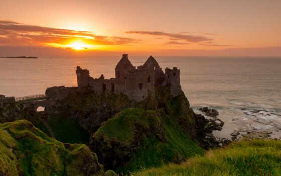 dunluce, irlandia, p-nocna, antrim, руины, słońca, morze, ирландский, castle, развалины, задолго