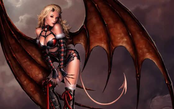 демон, крылья, девушка, демоница, арт, фантастика,