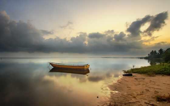 пляж, лодка, рассвет