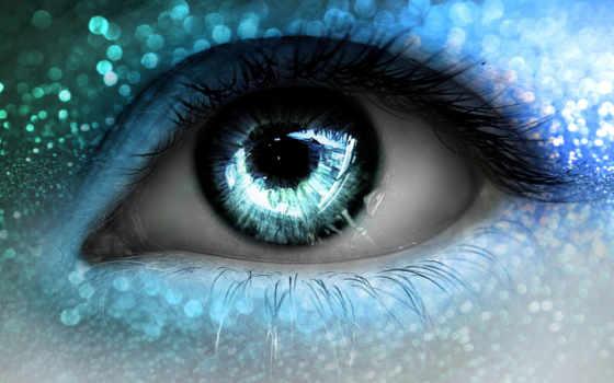 макро, глаз, ресницы, огни, зрачок, голубые,