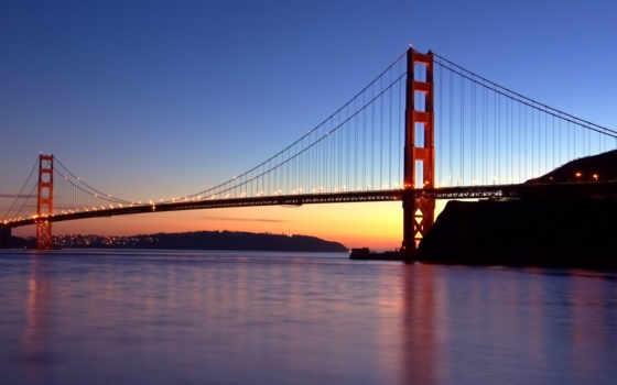 река, san, франциско, мост, золотые, дверь,
